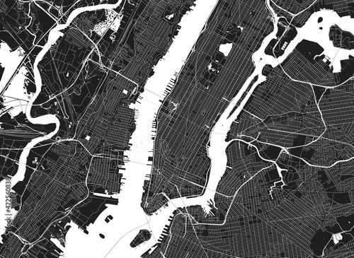 Light New York City map. Road map of New York (United States). Black and white (light) illustration of new york streets. Transport network of the Big Apple. Printable poster format (album).