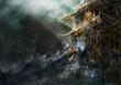 Azjatycka świątynia podczas ulewy