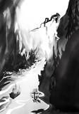 Czarno biały górski kanion z łódką
