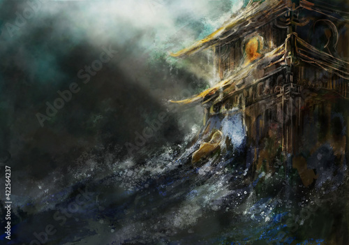 Fototapeta Azjatycka świątynia podczas ulewy obraz
