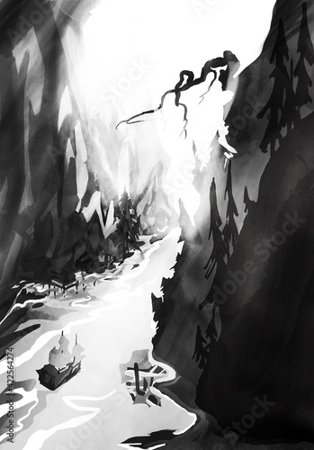 Fototapeta Czarno biały górski kanion z łódką obraz