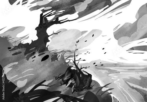 Czarno białe drzewo podczas wichury Fototapet