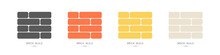 Set Of Logos Bricks Of Different Colors. Building Materials Concept. Vector Illustration In Flat Style