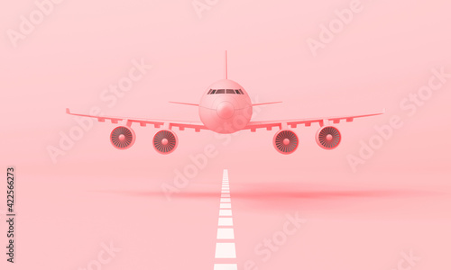 3d pink plane taking off from the landing strip. 3d rendering