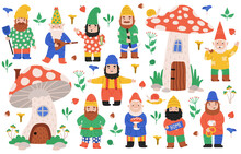 Garden Dwarf Characters. Gnome Garden Decorations, Dwarfs With Mushrooms, Gnome Mascots. Funny Garden Fairy Tale Creatures Vector Illustration Set