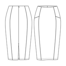 Women Fitted Pencil Skirt Vector Fashion Flat Sketches. Fashion Technical Illustration Template. Cut And Sew Detail. Back Slit