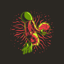 T Shirt Design Basketball With Jumping Position Aliens Illustration