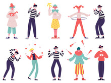 Mimes And Clowns. Circus And Street Artists, Comedy Performing, Juggling And Magic Tricks Vector Illustration Set. Silent Actors And Funny Clowns