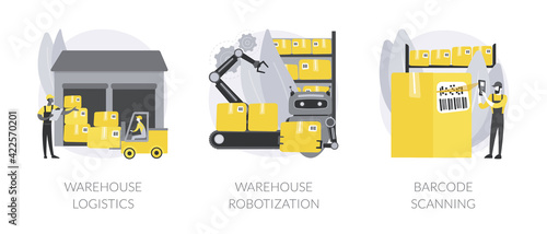 Storage automation abstract concept vector illustrations.