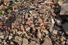 A Large Pile Of Used Broken Brick Rubble