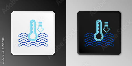 Canvas Print Line Water thermometer measuring heat and cold icon isolated on grey background