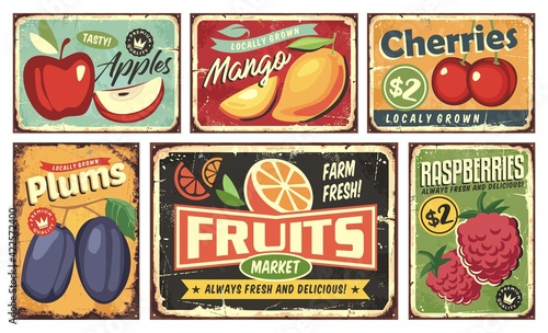 Fototapeta Fruit market vintage signs collection. Apple, mango, cherry, orange, plum and raspberry retro posters set. Fruit plantation and farm vectors and sign labels. obraz