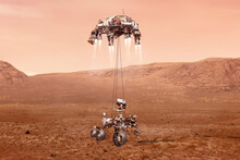 Mars Rover Landing, Exploration Planet Mars Elements Of This Image Furnished By NASA 3D Illustration