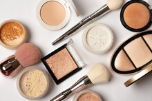 Set Of A Cosmetic Products. Closeup Shot