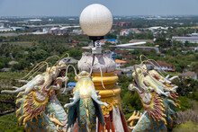 A Colored Chinese Dragon Statues Decorate The Lamp On The Rooftop, Wat Samphran Dragon Temple, Nakhon Pathom, Thailand.