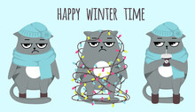 Set Of Grumpy Grey Cats. Happy Winter Time. Celebration, Cocoa, Coffee, Cold Days. Cats In Warm Clothes Scarf And Hat With Hot Drinks. Tangled In Garlands. Postcards Or Print In Blue Color. Vector