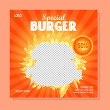 Burger Sale Web Banner Design, Food Sale Banner Promotion, Fresh And Hot Food Banner Template