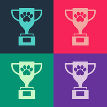 Pop Art Pet Award Symbol Icon Isolated On Color Background. Medal With Dog Footprint As Pets Exhibition Winner Concept. Vector