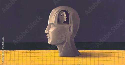 Obraz Concept art of brain thinking psychology success and mind , Surreal painting, conceptual 3d illustration, portrait artwork - fototapety do salonu