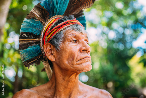 Papel de parede Indian from the Pataxó tribe, with feather headdress