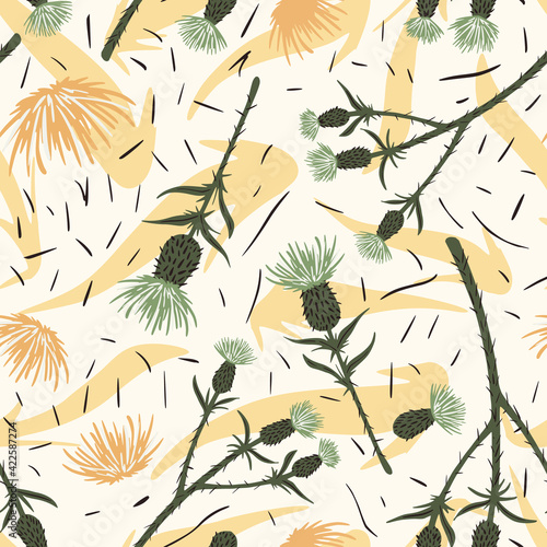 Seamless pattern thistle on yellow background Fototapet