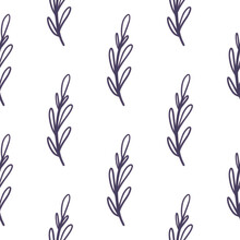 Isolated Seamless Pattern With Outline Navy Blue Branches Simple Print. White Background. Doodle Backdrop.