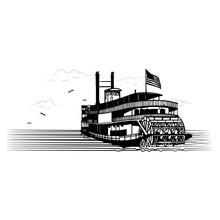 Sternwheeler River Boat Paddle Wheeler Vector Illustration Paddle Steamer Paddleboat Line Art  Black And White Graphic