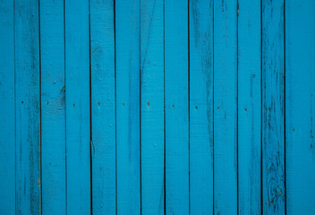 Old board with faded peeling paint  blue. Vintage textured background. Long horizontal banner