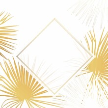 Tropical Fan Palm Leaves Card Template On White Background. Elegant Decorative Floral Frame. Good For Sales, Design Of Postcards, Packaging, Covers, Cases And Other Surfaces.