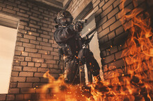 Special Forces Soldier Frees Hostages From A Building On Fire. Counter Terrorism. SWAT.