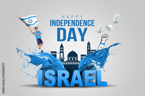 Fotografie, Tablou Israel happy independence Day celebrations with 15th April Israel 3d text and buildings, holding hand, man running with israel flag