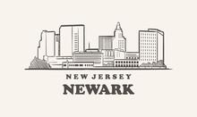 Newark Skyline, New Jersey Drawn Sketch