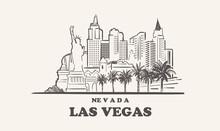 Las Vegas Skyline, Nevada Drawn Sketch