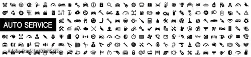 Fotografie, Tablou Auto service, car repair icon set