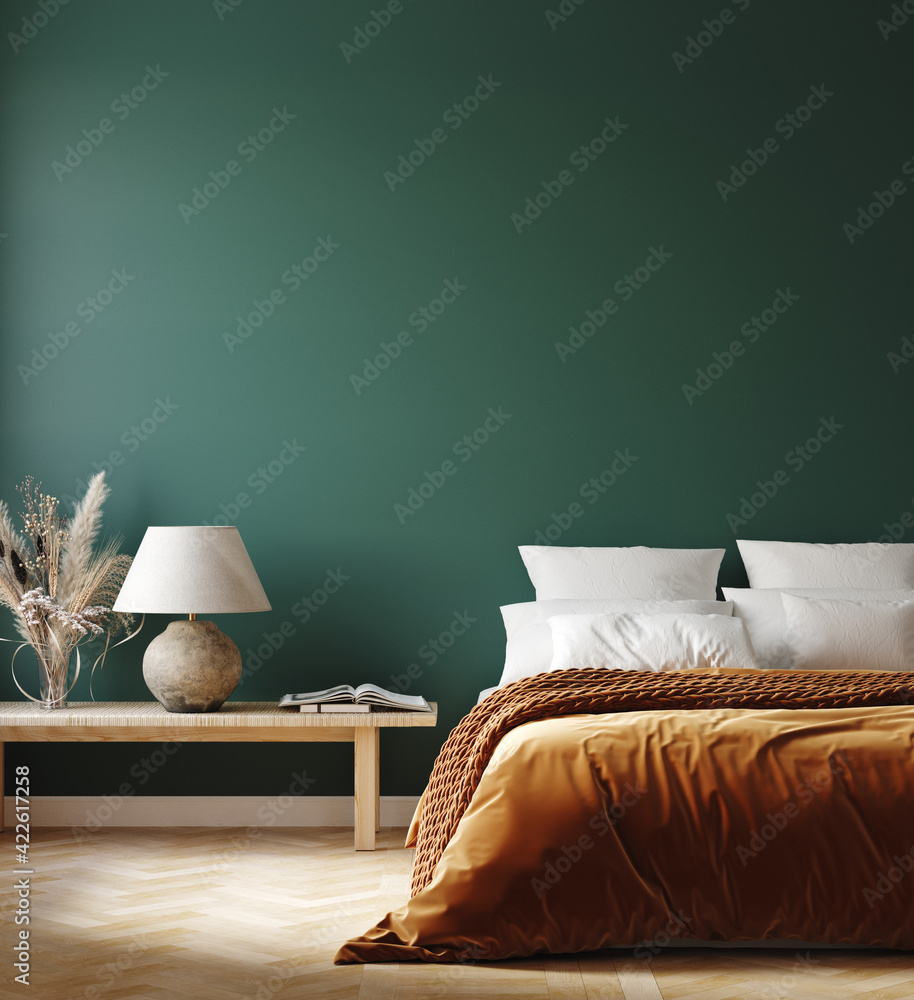 Fototapeta Home interior mockup with orange bed, bench and lamp in bedroom, 3d render