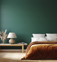 Home Interior Mockup With Orange Bed, Bench And Lamp In Bedroom, 3d Render