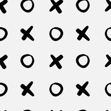 Vector Tic Tac Toe Seamless Background.