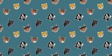Seamless Pattern Of Little Cartoon Faces Of Leopards, Tapirs, Zebras, African Buffalos, Okapis On A Blue Background. Vector.