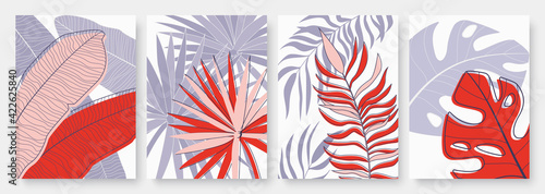 Foto Abstract minimal tropical palm tree leaves vector illustration set