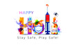 covid 19 vaccine, safety Mask, social distancing and Happy Holi. Indian festival of Color splash background, concept, idea with creative typography text
