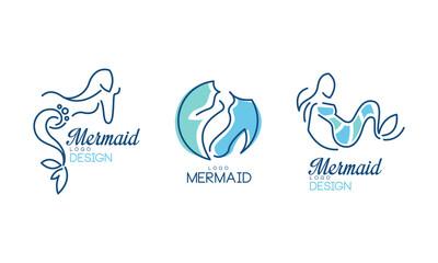 Mermaid Logo Design with Aquatic Creature Having Fish Tail Vector Set