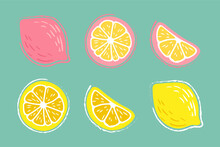 Lemon, Orange, Lime. A Set Of Hand-drawn Pencil, Pen In Cartoon Style Isolated On A Turquoise, Bright Background. For A Logo, Print On A T-shirt, Bag, Sticker.