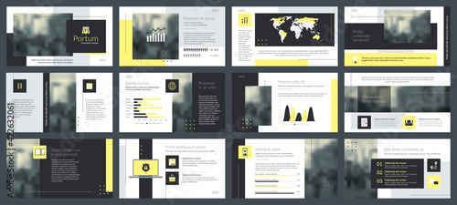Fototapeta Powerpoint and keynote presentation slides design template. Elements of infographics for presentations templates, annual report, leaflet. obraz