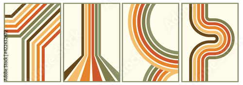 retro vintage 70s style stripes background poster lines. shapes vector design graphic 1970s retro background. abstract stylish 70s era line frame illustration - fototapety na wymiar