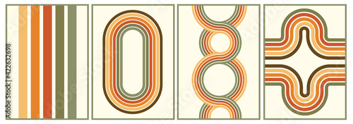 Photo retro vintage 70s style stripes background poster lines