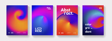 Set Of Abstract Futuristic Swirl Gradient Posters. Modern Colorful Backgrounds Collection. Trendy Minimal Backdrop For Placard, Cover, Banner.