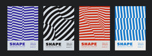 Collection Of Swiss Design Striped Posters. Meta Modern Graphic Elements. Abstract Modern Geometric Stripes. Circle Sphere Shapes.