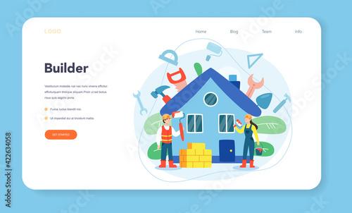 House building web banner or landing page Fototapet