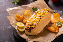 Chili Hot Dog With Onion And Mustard