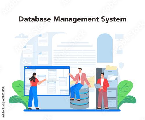 Obraz na plátně Data base administrator concept. Admin or manager working